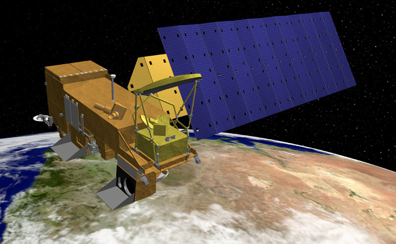 Artist rendering of the Aqua satellite