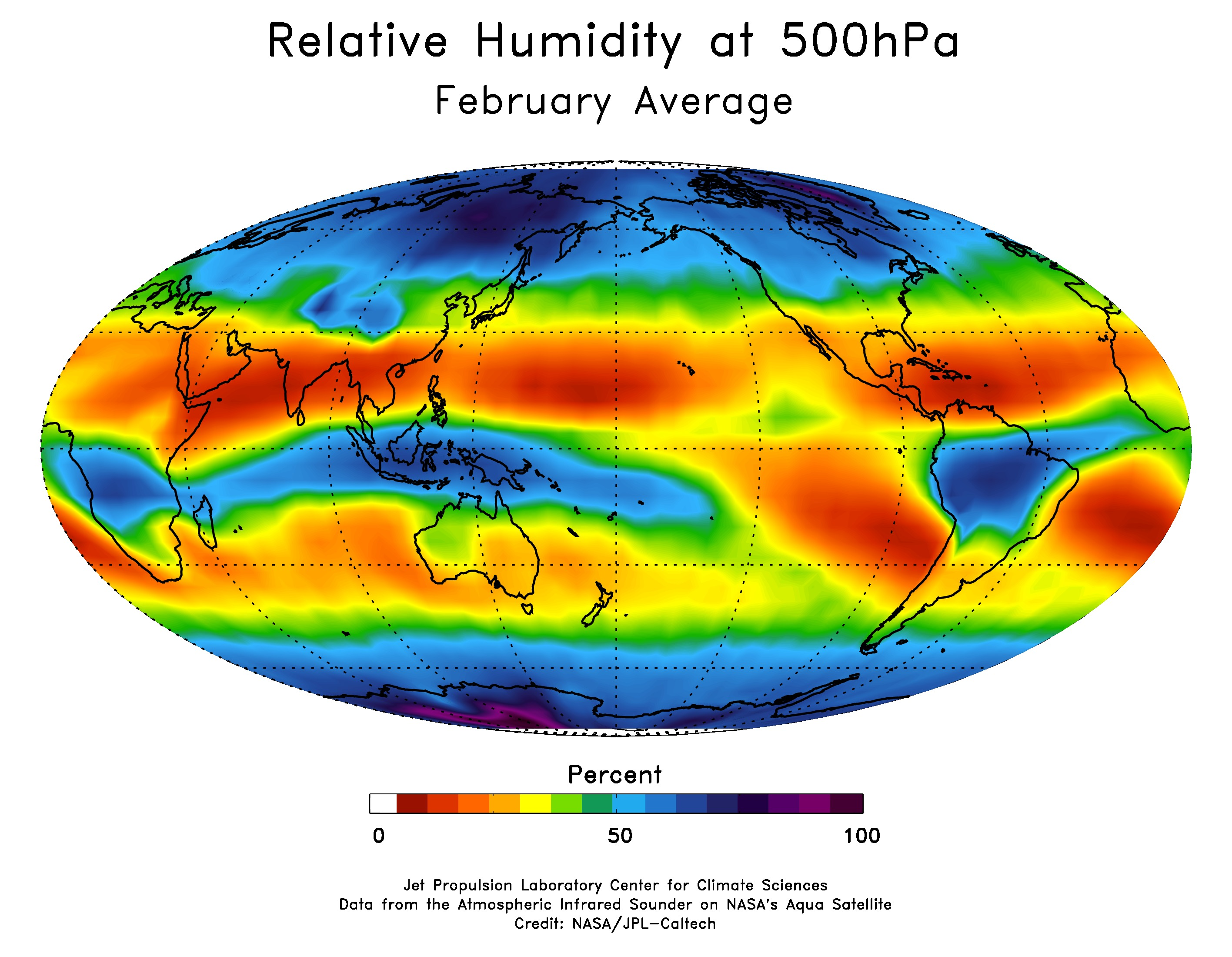 Map of the average distribution of relative humidity in the middle troposphere for the month of February.<span>
