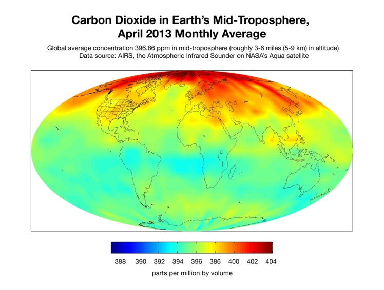 The increase in carbon dioxide in Earth's mid-troposphere from 2002 to 2013  – AIRS